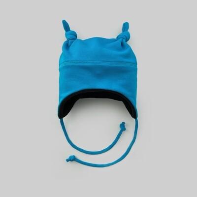 Шапка с двумя узелками (лазурный синий)