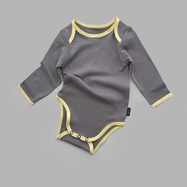 Серый боди с желтым кантом (длинный рукав)