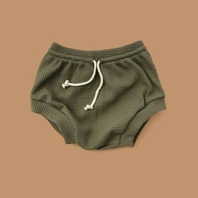 Мягкие вафельные шорты-трусики (зелёный мох)