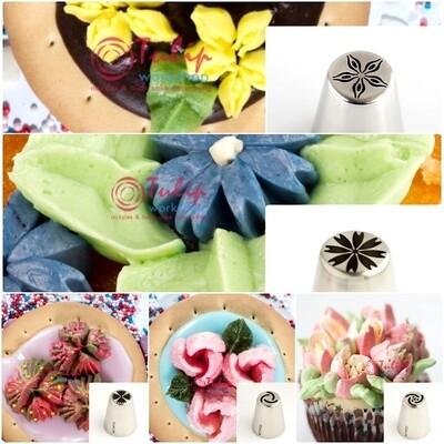 Набор 5 кондитерских насадок - Цветы №№ 24,25,26,27,28 | L размер