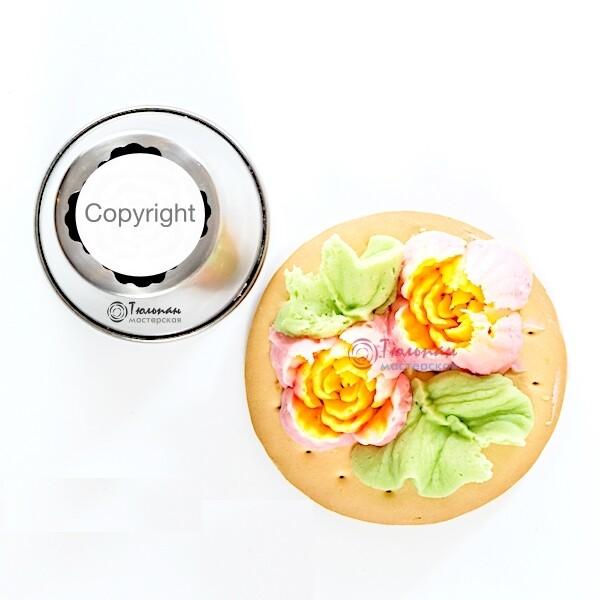 Насадка Малазийский Цветок №208 Роза Виктория | XL размер (Russian Flower Nozzle # 208 Carnation | XL size | By Tulip Workshop)