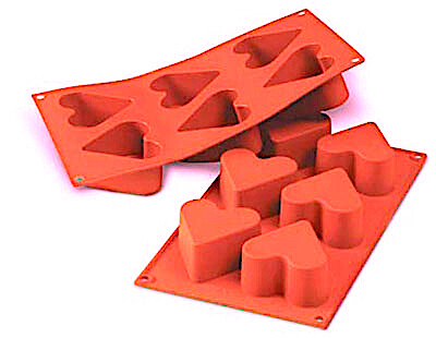 Форма для выпечки силиконовая Сердце 6 фигур 68*35 мм