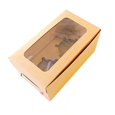 Крафт-коробка с окном 2 капкейка 16*9*7 см | упак 10-50 шт
