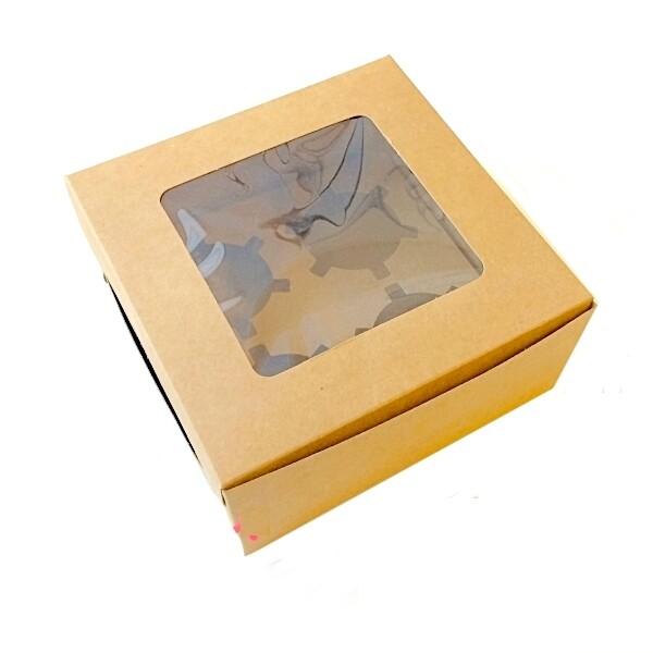 Крафт-коробка с окном 4 капкейка 16*16*7.5 см | упак 10-50 шт