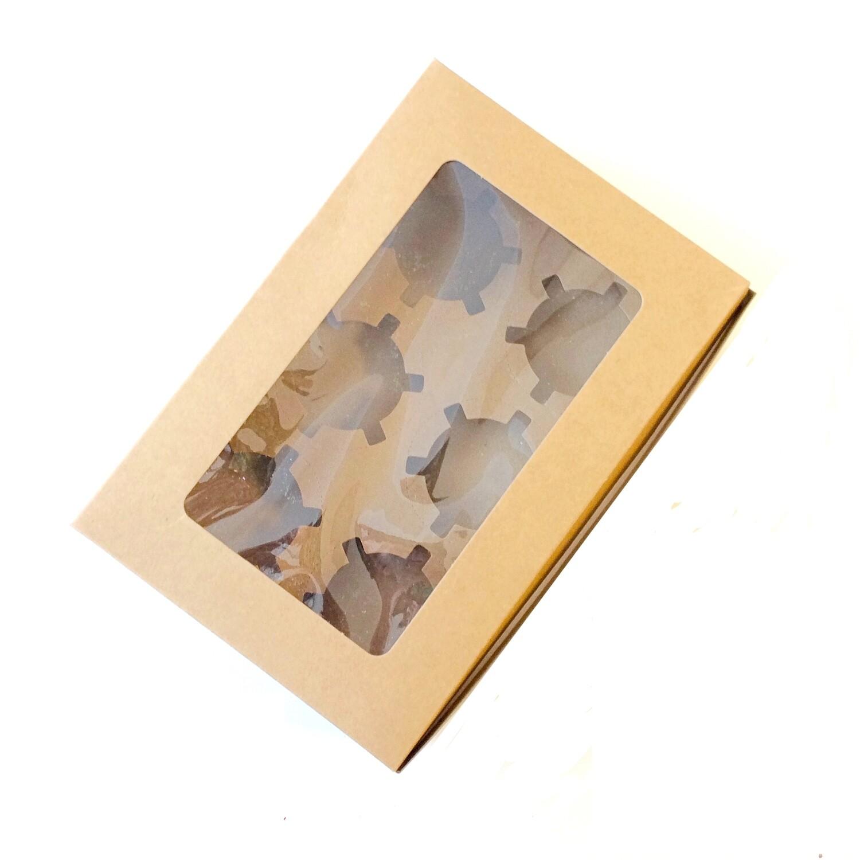 Крафт-коробка с окном 6 капкейков 24*15*7.5 cм | упак 10-50 шт