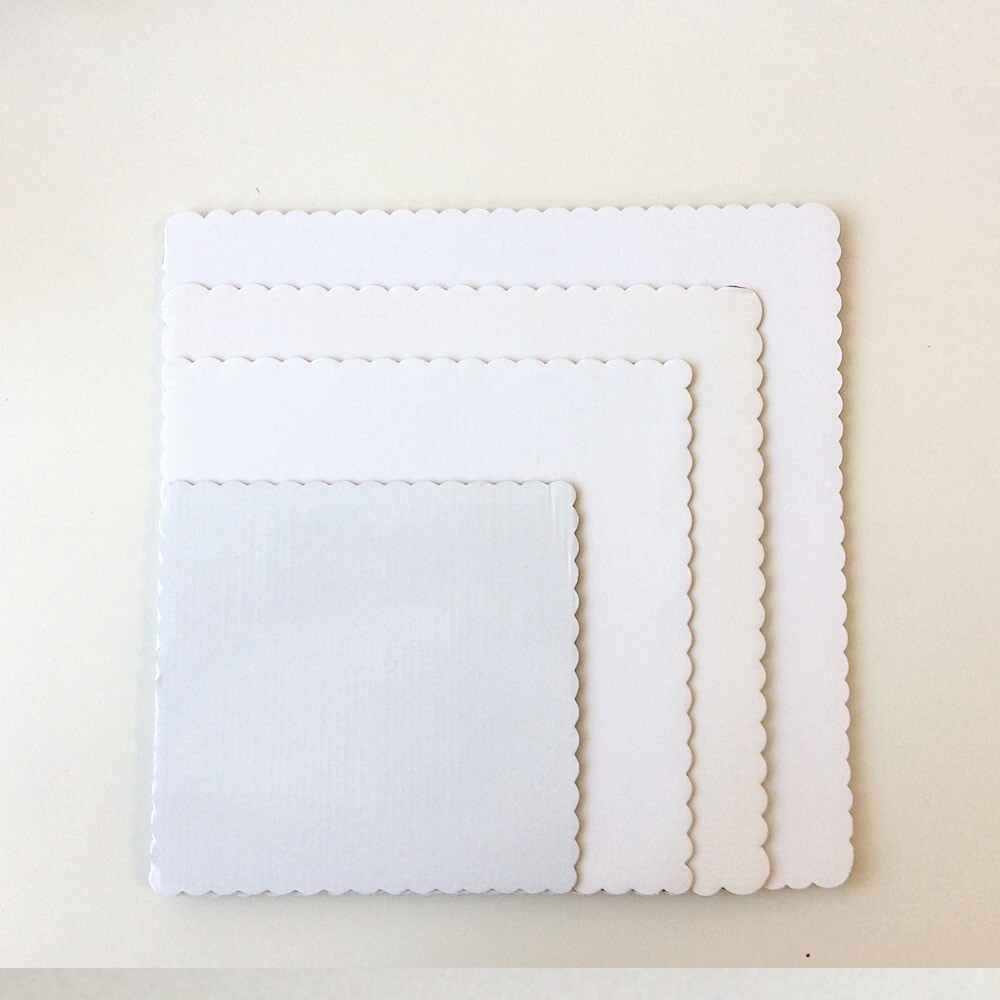 Подложка под торт белая квадратная 1 мм | упак. 10 шт