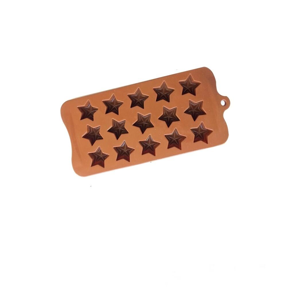 Силиконовая мини-форма для шоколада-желе-мармелада 15 фигур Звёзды 210*105*15 мм