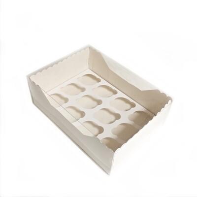 Коробка с прозрачной крышкой 12 капкейков 34*24*12 см