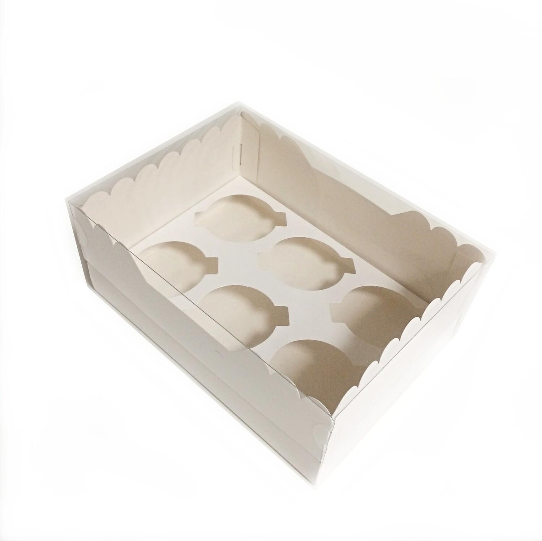 Коробка с прозрачной крышкой 6 капкейков 24*17*10 см