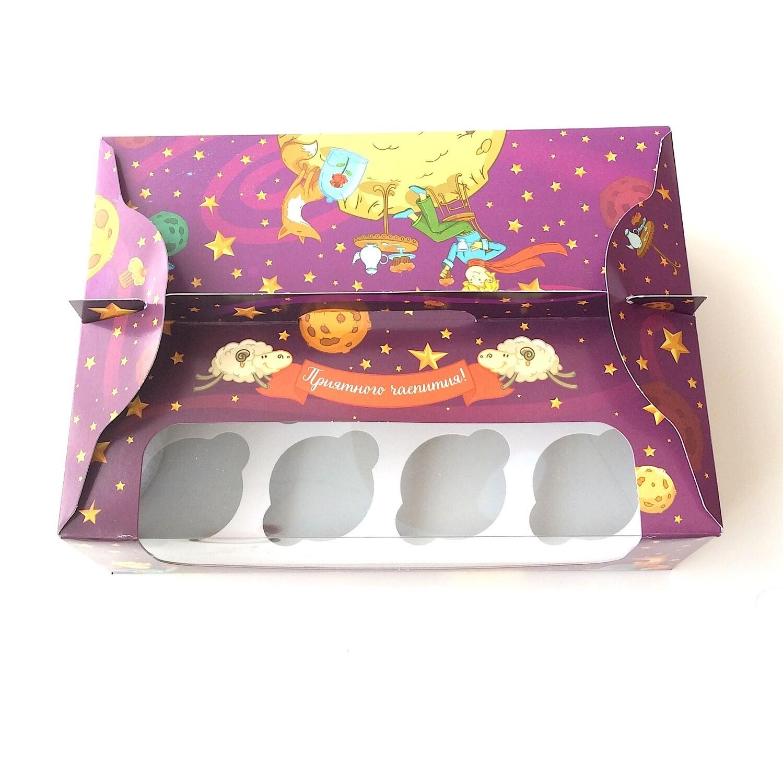 Коробка с окном 12 капкейков 34*24*12 см | Маленький Принц