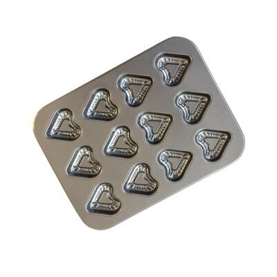 Форма для выпечки металлическая антипригарная   12 кексов - Сердца