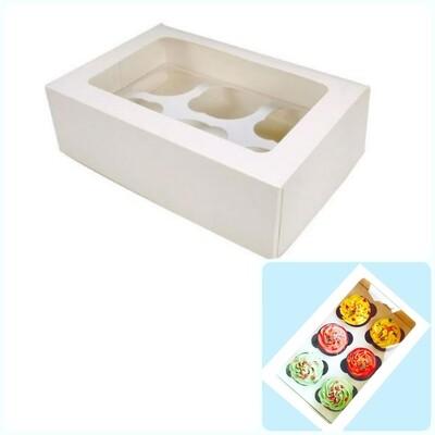 Коробка с окном для 6 капкейков 24*17*10 cм