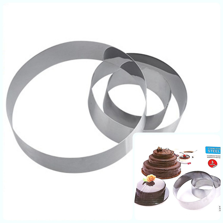 Формы для выпечки стальные Набор 3 шт | Кольца (100, 150, 200 мм, высота 45 мм)
