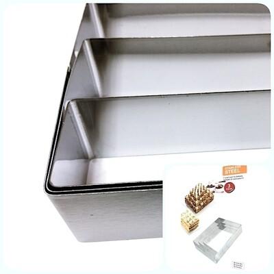 Формы для выпечки стальные Набор 3 шт | Прямоугольники (100, 150, 200 мм, высота 45 мм)