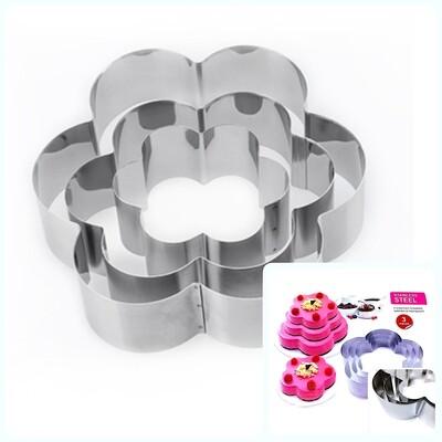 Формы для выпечки стальные Набор 3 шт | Цветы (100, 150, 200 мм, высота 45 мм)