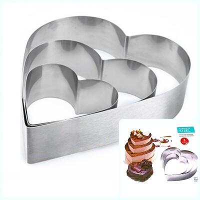 Формы для выпечки стальные Набор 3 шт | Сердца (100, 150, 200 мм, высота 45 мм)