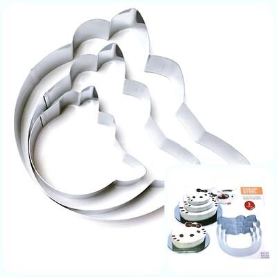 Формы для выпечки стальные Набор 3 шт | Китти (100, 150, 200 мм, высота 45 мм)