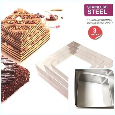Формы для выпечки стальные Набор 3 шт | Квадрат (100, 150, 200 мм, высота 45 мм)