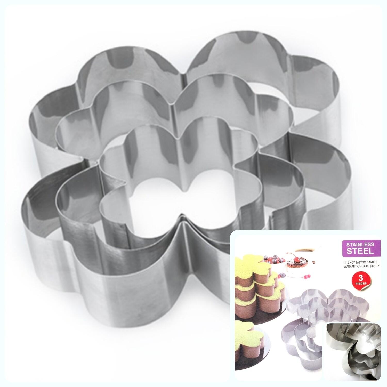 Формы для выпечки стальные Набор 3 шт | Клевер (100, 150, 200 мм, высота 45 мм)