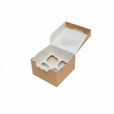Коробка с окном 4 капкейка 16*16*10 cм | ECO MUF 4