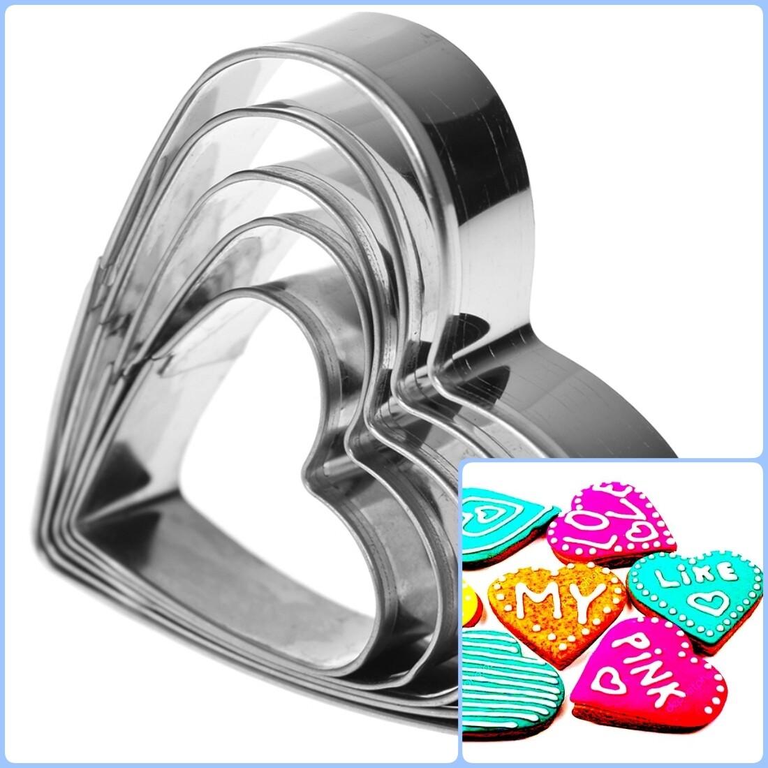 Вырубка стальная Сердца 5-8 см | Набор 5 фигур
