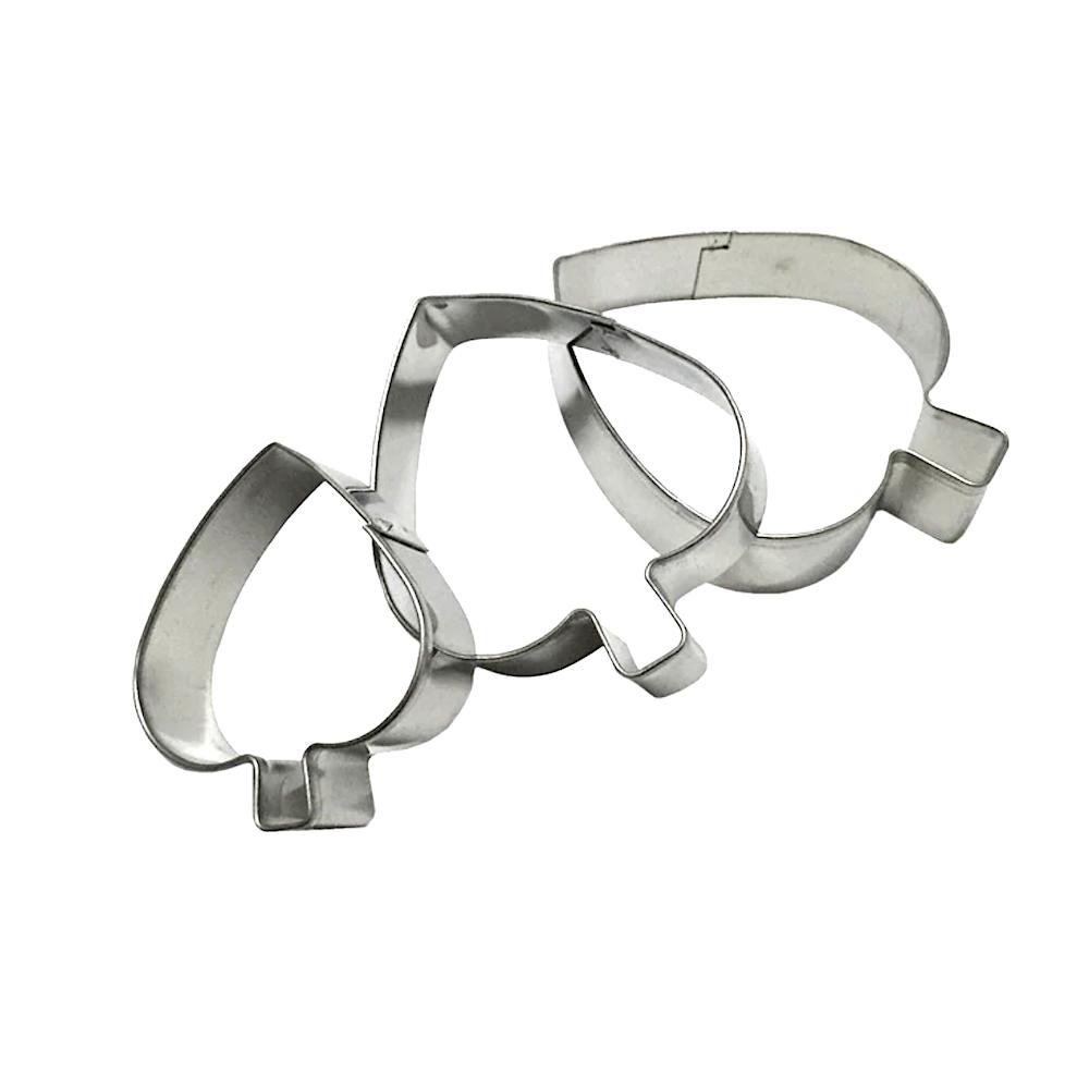 Вырубка стальная Листик 3-6 см | Набор 3 фигуры