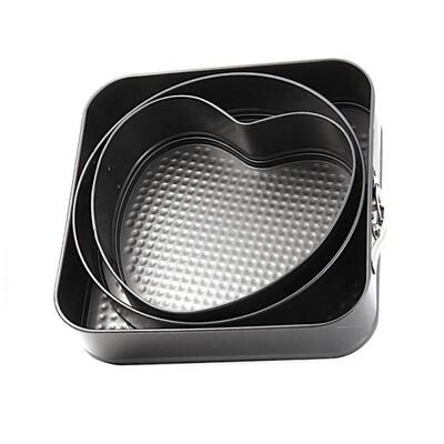 Форма для выпечки металлическая разъёмная антипригарная   Комбо набор 3 шт: 26*26 см, высота 5.5 см