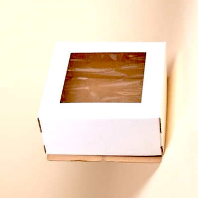 Коробка с окном для торта 22*22*13 см | упаковка 10-50 шт