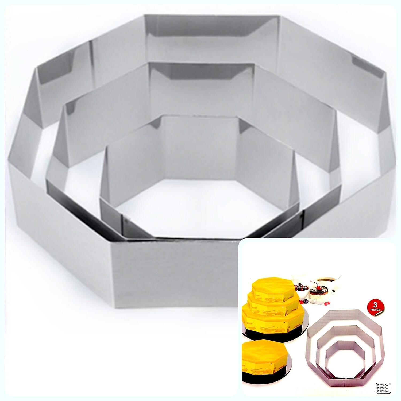 Формы для выпечки стальные Набор 3 шт | Многоугольная (100, 150, 200 мм, высота 45 мм)