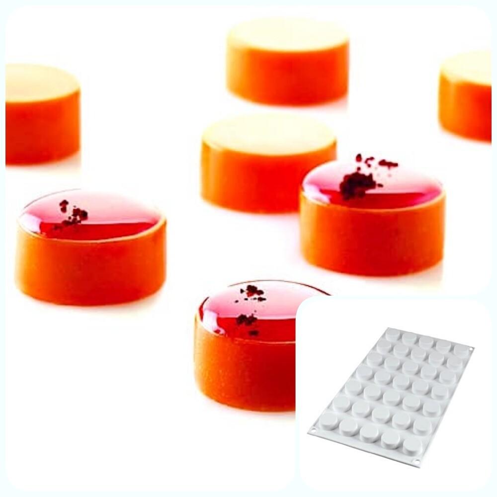 Силиконовая форма 3D для муссовых десертов и декора | Круг (Round) мини 35 ячеек