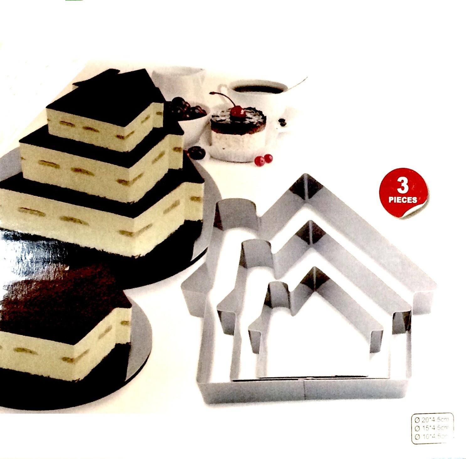 Формы для выпечки стальные Набор 3 шт   Домик (100, 150, 200 мм, высота 45 мм)
