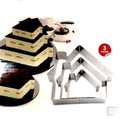 Формы для выпечки стальные Набор 3 шт | Домик (100, 150, 200 мм, высота 45 мм)