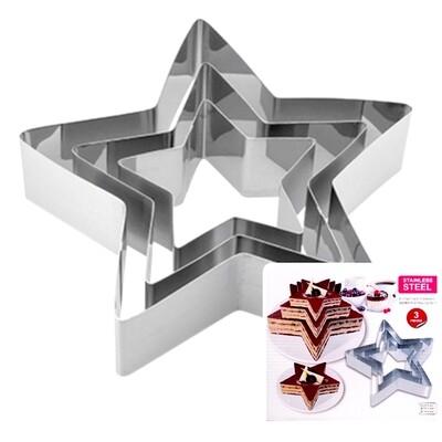 Формы для выпечки стальные Набор 3 шт | Звёзды (100, 150, 200 мм, высота 45 мм)