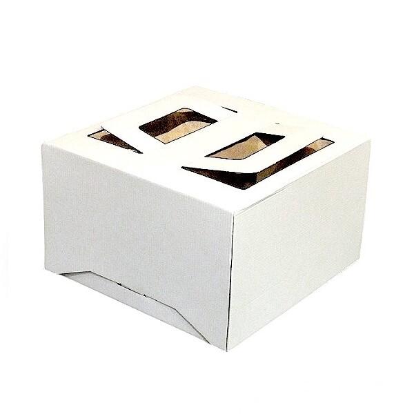 Коробка ручками и окном для торта 26*26*20 см Белая | упаковка 5-25 шт