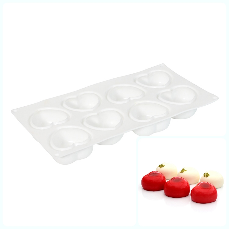 Силиконовая форма 3D для муссовых десертов | Амор (сердца) 8 ячеек