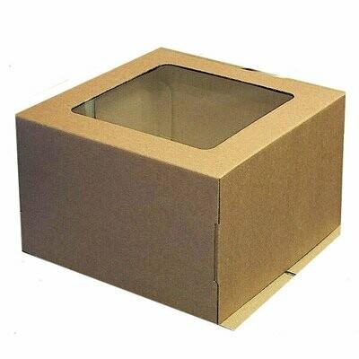 Коробка с окном для торта 30*30*19 см Бурая (Крафт) | упак 10-50 шт