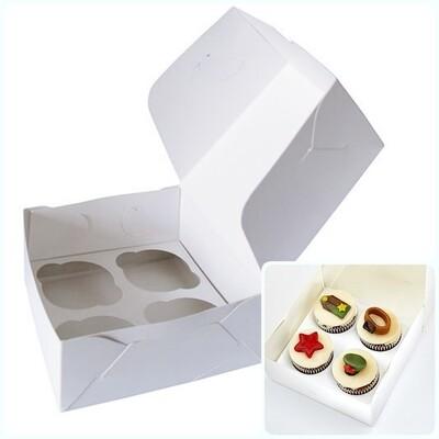 Коробка для 4 капкейков 16*16*10 cм | Белая