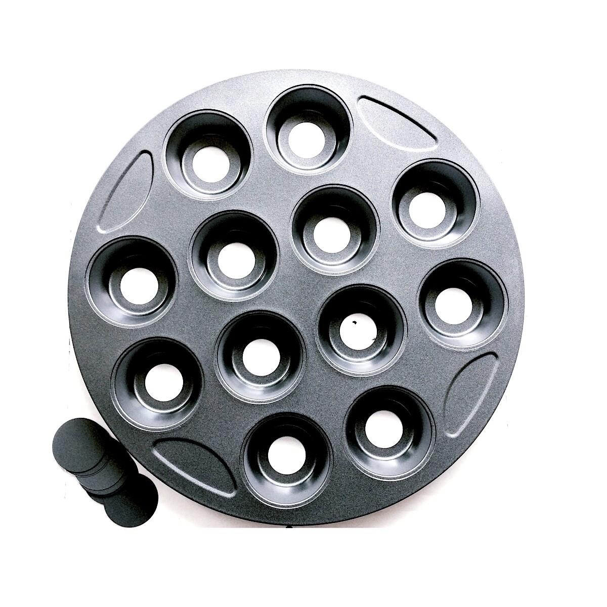 Форма для выпечки металлическая антипригарная | 12 кексов - Капкейки (съёмное дно, круглая)