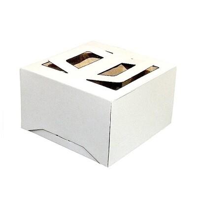 Коробка ручками и окном для торта 24*24*20 см Белая | упаковка 5-25 шт