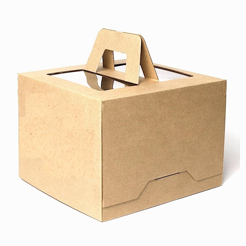 Коробка ручками и окном для торта 28*28*20 см Бурая (Крафт) | упаковка 5-25 шт