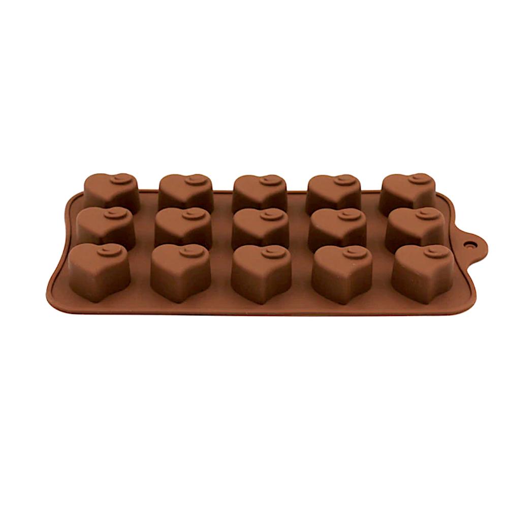 Силиконовая мини-форма для шоколада-желе-мармелада 15 фигур Сердечки 195*100*15 мм (Эконом)