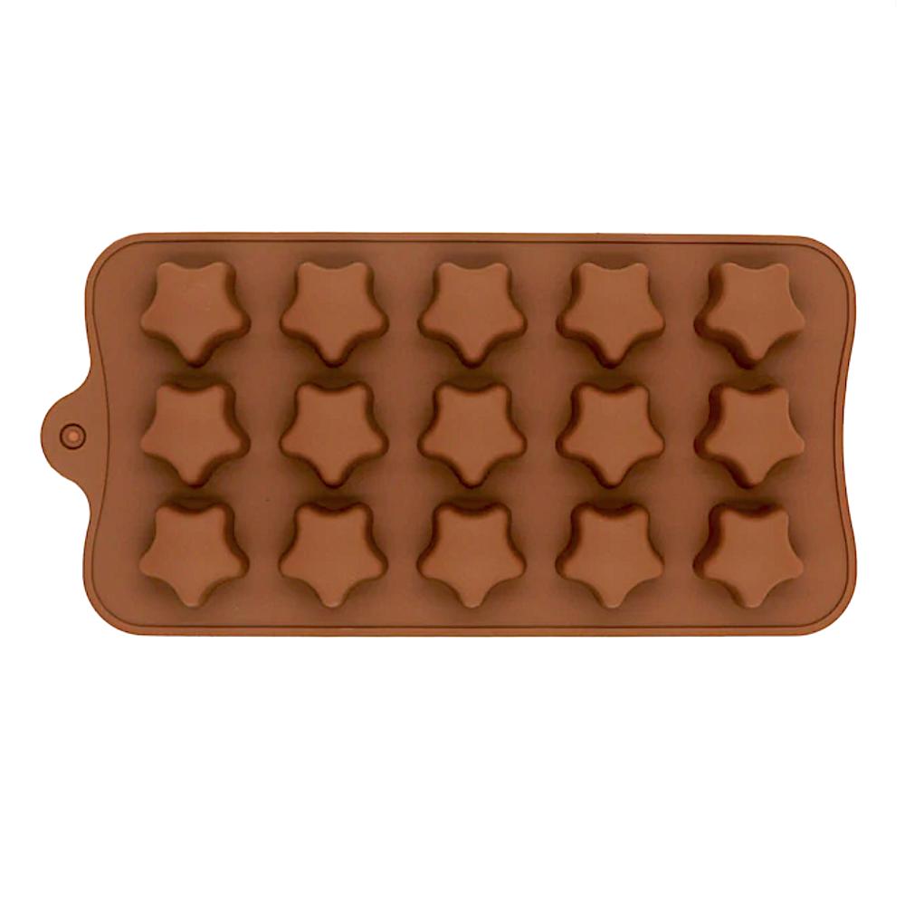 Силиконовая мини-форма для шоколада-желе-мармелада 15 фигур Звёздочки 195*100*15 мм (Эконом)