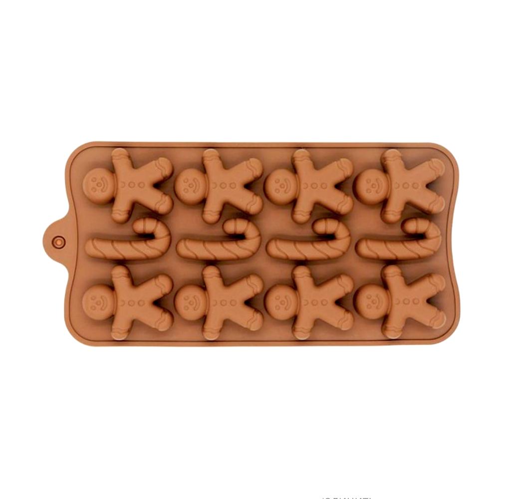 Силиконовая мини-форма для шоколада-желе-мармелада 15 фигур Пряничный Человек 195*100*15 мм (Эконом)