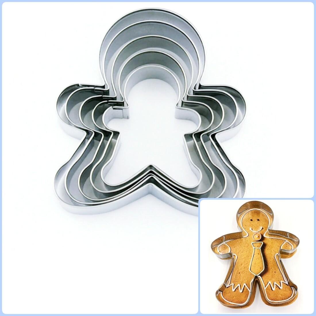 Вырубка стальная Пряничный Человек ∅ 5-8 см   Набор 3-5 фигур