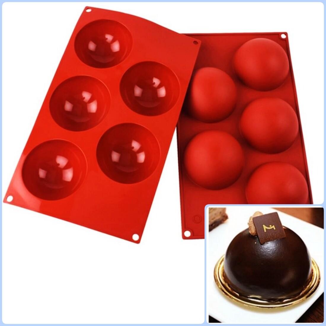 Форма для выпечки силиконовая Полусфера 5 фигур 80*35 мм