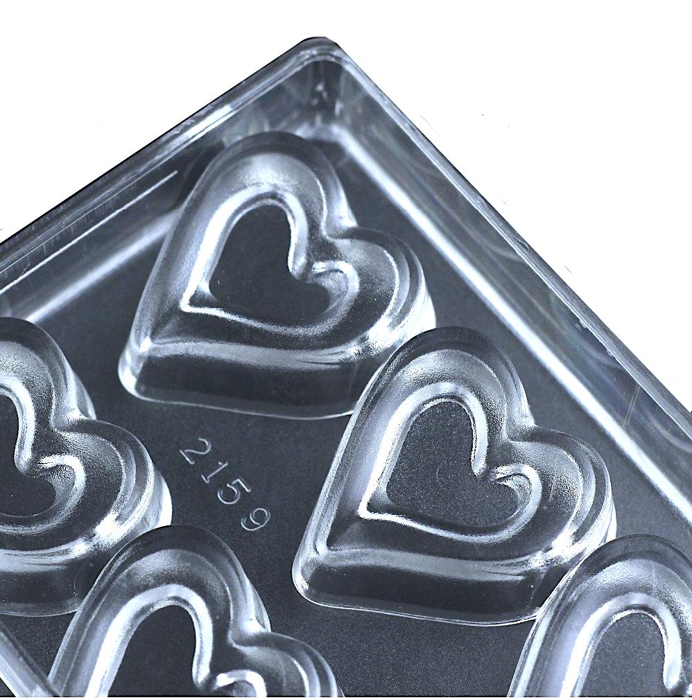 Поликарбонатная форма для шоколада 275*135*24 мм | Сердце (у) мод.2159 (эконом)