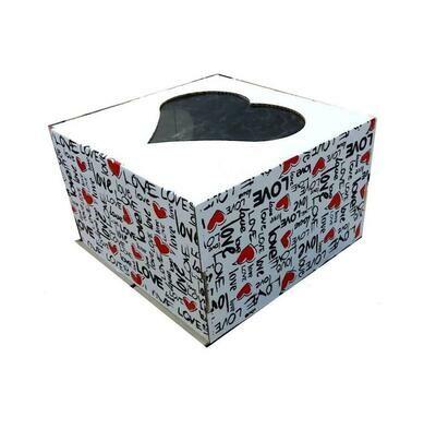 Коробка с окном для торта 30*30*19 см Любовь (печать) | упак 5-25 шт