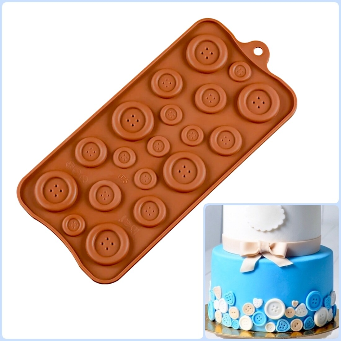 Форма для шоколада, мастики и проч. силиконовая | Пуговицы 19 фигур