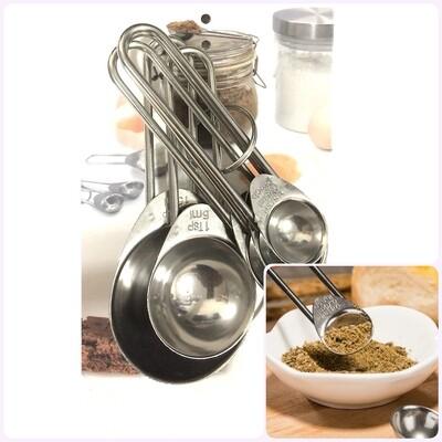Мерные ложки набор 5 шт из нержавеющей стали для жидких и сухих продуктов | 0.75-15 гр/мл