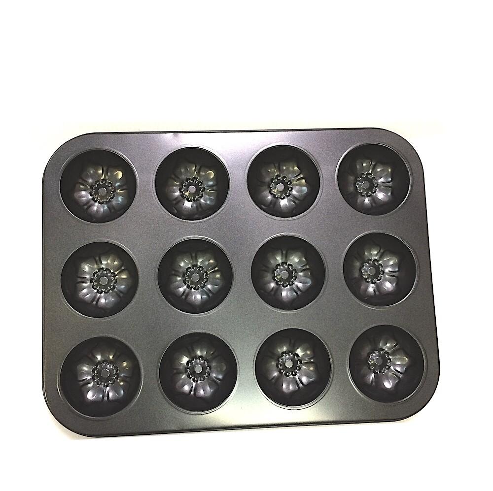 Форма для выпечки металлическая антипригарная   12 кексов - Цветок